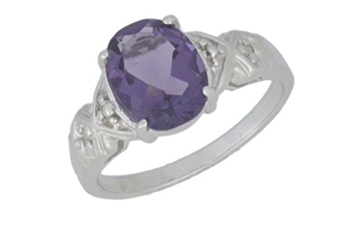 Created Alexandrite & Diamond Oval Ring .925 Sterling Silver Rhodium Finish