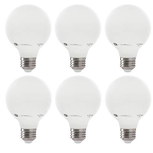 LED 5W G25 White Globe Filament Light Bulb, 60W Equivalent, 500 Lumens, 3000K Soft White, E26 Medium Base, Dimmable, 120V, UL Listed, (6 Pack)