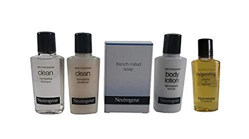 Neutrogena Amenities Travel Set - Clean Normalizing Shampoo - Conditioner - Lotion - Shower Gel and French Milled Soap