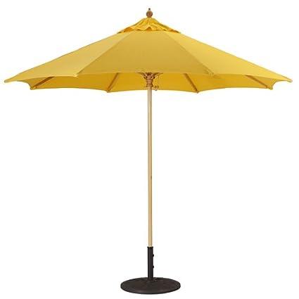Galtech Patio Umbrellas 9u0027 Commercial Wood Market Umbrella Suncrylic W/  Light Wood