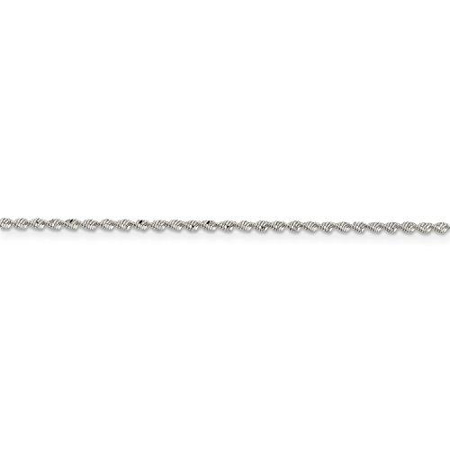 Sterling Silver 7in 1.65mm Twisted Herringbone Chain -