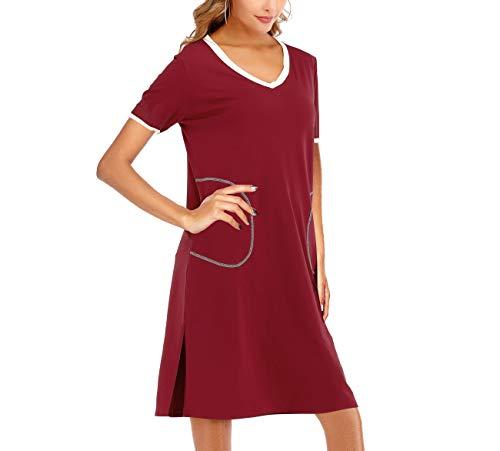 AOVXO Womens V Neck Short Sleeve Nightshirt Ultra-Soft Cotton Fabric Split Hem Design with 2 Side Deep Pockets (Wine Red-Short, XL)