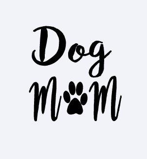 Dog Mom Decal Vinyl Sticker|Cars Trucks Vans Walls Laptop| BLACK |5.5 x 5.5 (Mom Van)