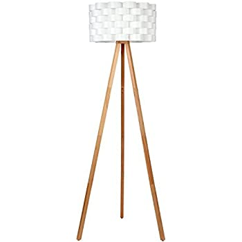 Brightech - Bijou Tripod Floor Lamp - Contemporary Design for Modern Living Rooms - Soft Ambient Lighting - Made with Natural Wood - Natural Color Wood