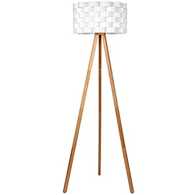 Brightech – Bijou Tripod Floor Lamp – Contemporary Design for Modern Living Rooms – Soft Ambient Lighting – Made with Natural Wood - Natural Color Wood