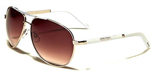 (Gold White Amber Lightweight Metal Aviator Sunglasses For Women And Men)