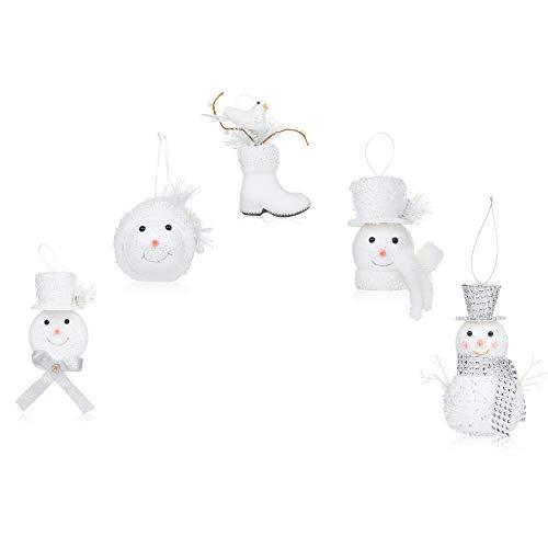 Santas Gems Christmas Decorations Tree Ornaments Set Silver and White Keepsake Box