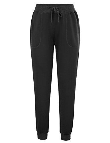 GRACE KARIN Women's Activewear Drawstring Jogger Pants With Pockets Size L Black