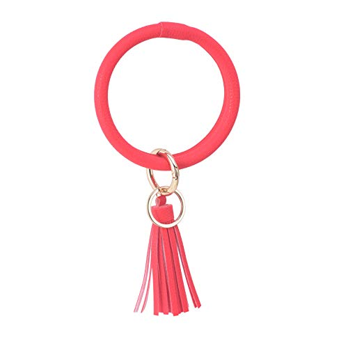 Big Bracelet Bangle Keychain Keyring - Large O Wrist Leather Bracelet Key Holder Key Chain Key Ring By Coolcos (Red) ()