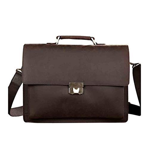 Yxsd Men's Leather Briefcase with Dial Lock 15 Inch Vintage Business Handbag Laptop Work Tote
