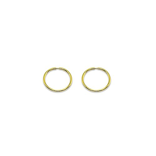 14K Gold Tiny Small Endless 10mm Round Thin Lightweight Unisex Hoop Earrings by Hoops 4 Less (Image #2)