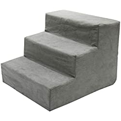 Qz Grey Dog Stairs for High Bed Couch 3 Step, Small Pet Cat Step Stool for Bed Sofa, Sponge Suede, 40×38×30cm