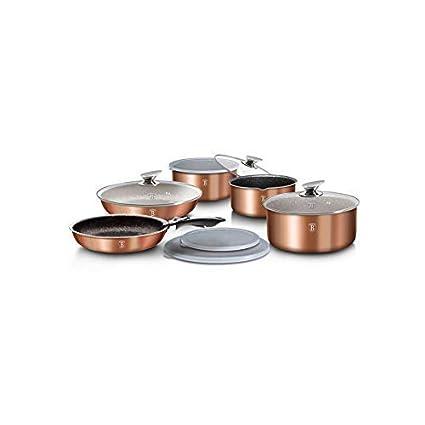 batería de ollas y sartenes Metallic Line con Mango Desmontable 12 unidades Color Cobre