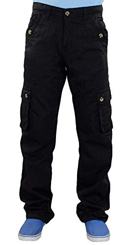 True Face Mens Trousers Cargo Combat Work Bottoms Zip Pocket Pants Black Size 30 to 40