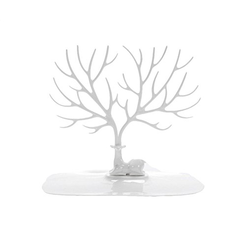 25 Creative Jewelry - WAYER Tree ring holder, Jewelry stand Jewelry organizer rack Creative Antler Tree Decoration ornaments Ring display tower stand-WhiteA 25x15x23cm(10x6x9inch)