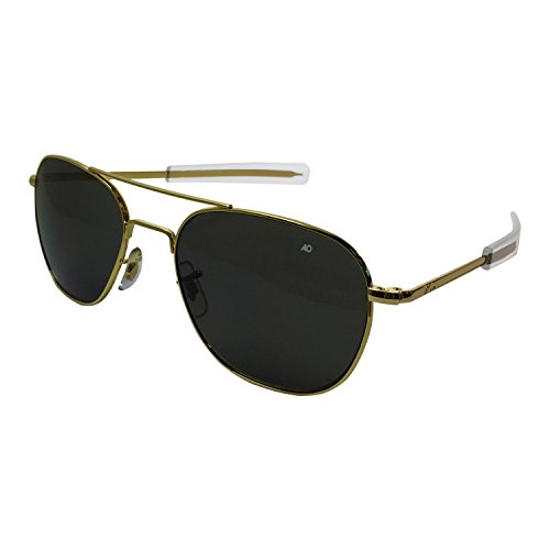 AO Eyewear American Optical - Original Pilot Aviator Sunglasses with Bayonet Temple and Gold Frame, Color Correct Grey Polycarbon ate Polarized ()
