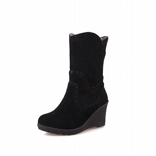 Latasa Dames Vintage Nubuck Half Sleehak Platform Mid-kalf Slouchy Laarzen Zwart