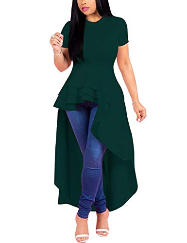 (Lrady Women Ruffle High Low Asymmetrical Short Sleeve Peplum Tops Blouse Shirt Dress Green 3XL)