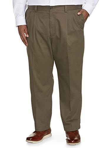 (Amazon Essentials Men's Big & Tall Relaxed-fit Wrinkle-Resistant Pleated Chino Pant fit by DXL, Taupe, 60W x 30L)