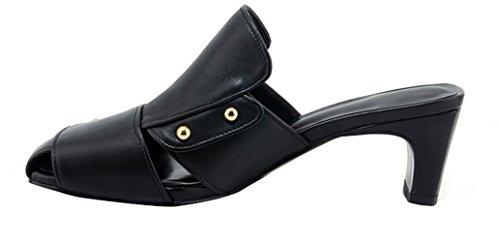 toe A Calaier Nere Tacco Spillo Cm 5 on Women Pantofole Slip Tuoxia 5 Square Scarpe 6HxtHr8