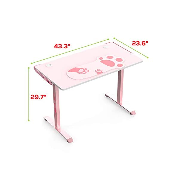 Itsorganized Pink Computer Desk43 Inch Home Gaming Study Writing Desksturdy T Shaped With Cup Holder Headphone Hook Controller Standstudy Gaming Tables Gift For Girl