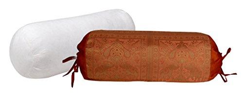 Indian Handmade Designer Round Silk Bolster Pillow Insert Wi
