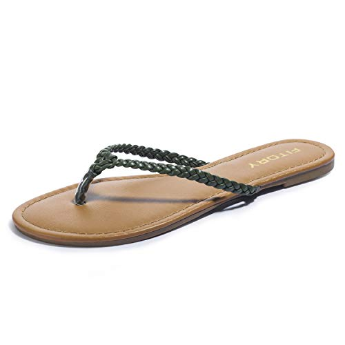 Womens Flip Flops, Easy Braided Thong Flat Sandals for Summer Green