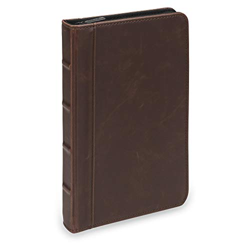 (Samsill Small Vintage Portfolio/Zipper Faux Leather Portfolio, Book Style Hardback Design, Business & Interview Padfolio Organizer, 5 x 8 Writing Pad, Dark Brown (Renewed))