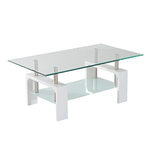 White Wood Chrome Glass Top Coffee Table 2 Tier Contemporary Living Room  With Ebook