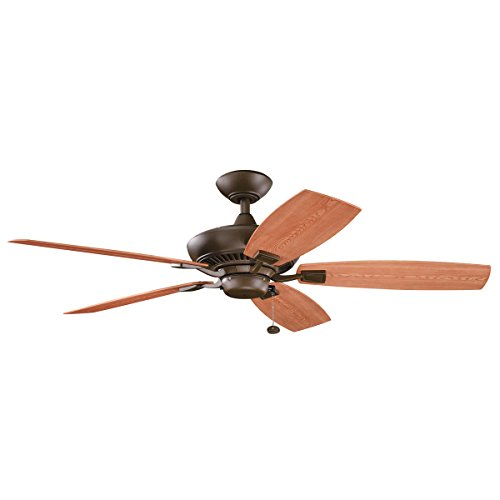 Weathered Bronze Silhouette - Kichler 310192TZP 52-Inch Canfield Patio Fan, Tannery Bronze Powder Coat