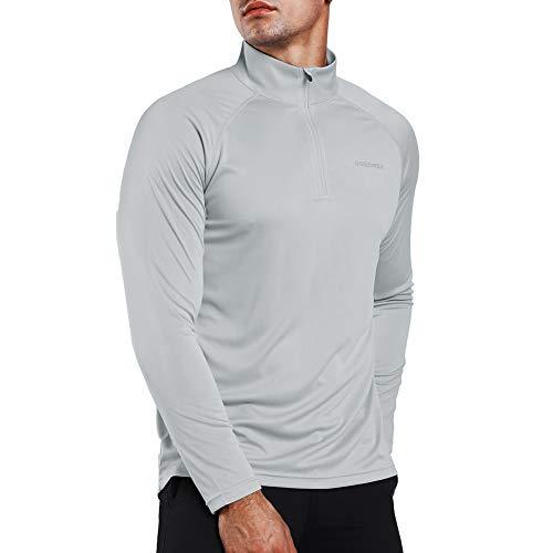 Ogeenier Men's 1/4 Zip Pullover UPF 50+ UV Sun Protection Long Sleeve Shirts Outdoor Running Athletic ()