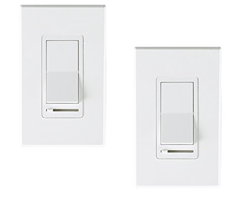 (Cloudy Bay In Wall Dimmer Switch For LED Light/CFL/Incandescent,3-way Single Pole Dimmable Slide,600 Watt max,Cover Plate Included -2 Pack)