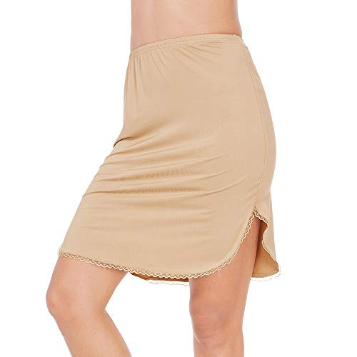 Half Slips for Women Underskirt Short Mini Skirt with Floral Lace Trim Light Brown Medium ()