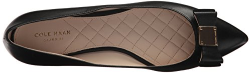 Cole Haan Women's Tali Bow Skimmer Ballet Flat Black Leather a1087