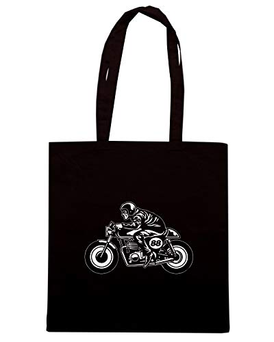 Borsa Shopper Nera TB0323 MAN RIDE A CAFE RACER