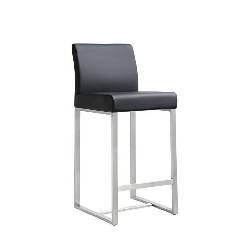 Tov Furniture The Denmark Collection Stainless Steel Metal Leather Upholstered Industrial Modern Counter Stool with Back, Black, Set of - Counter Modern