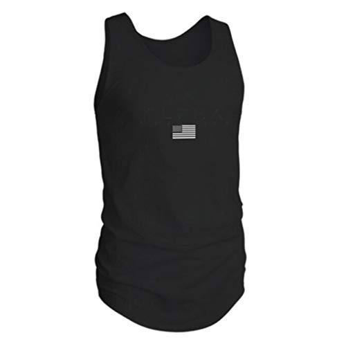 Tank Tops for Men, Sunyastor Men's Fashion Summer Sleeveless USA Flag Muscle Casual Outdoor Sports Vest Blouse Tops Black
