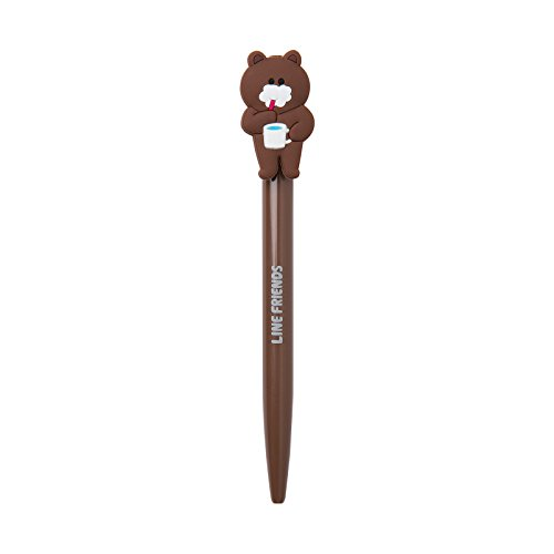 LINE FRIENDS Tooth Brusing Brown Ballpoint Pen Black Ink One Size Brown
