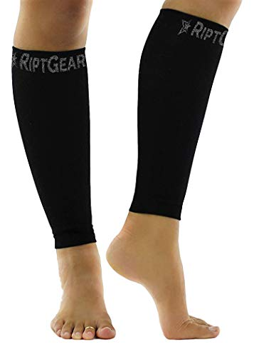 RiptGear Calf Compression Sleeves for Women and Men (Pair) - Graduated Compression Ergonomic Fit - Leg Performance Support Shin Splint and Calf Pain - Footless Compression Socks - Extra Large