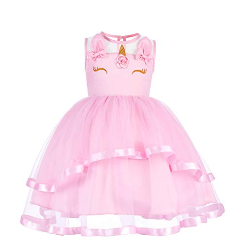 Toddler Girl Sleeveless Unicorn Costume Embroidery Flower Princess Party Pageant Dress Kids Halloween Cosplay Bowknot Wedding Cake Smash Photo Prop Long Puffy Tulle Dance Ball Gown B-Pink 12-13 -