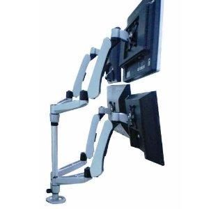 Cotytech Wandhalterung Vier Monitor Tischhalterung Federarm Quick Release mit Klemmen-Sockel (DM-C4SA5-S-C)