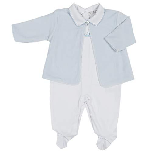 Kissy Kissy Baby Boys Royalty Footie W/Collar and Velour Jacket Set - Wh./Lt.Blue-Newborn ()