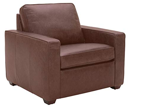 Rivet Andrews Contemporary Top-Grain Leather Chair with Removable Cushions, 40 W, Dark Brown
