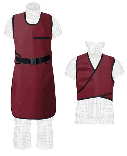 (EZ Guard Buckle Closure, Regular Lead, X-ray Apron, 0.5mm Pb Lead Equivalency, Large, Burgundy)