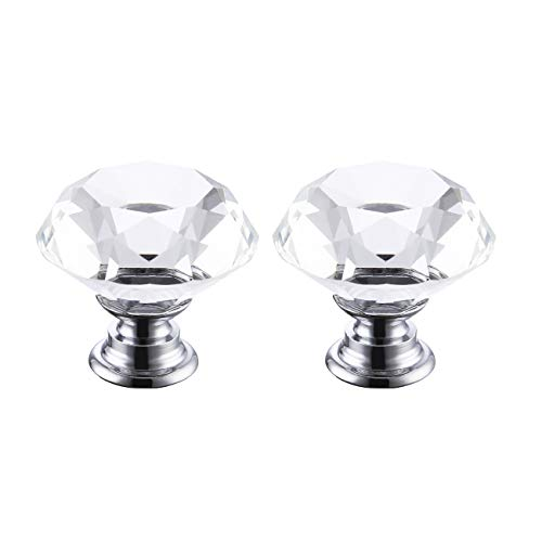 KES Cabinet Knob Diamond Shape Crystal Glass Cupboard Drawer Hand Pull 2 Pack, HCK700-P2