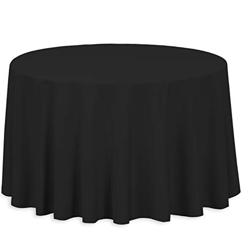 LinenTablecloth 108-Inch Round Polyester Tablecloth Black