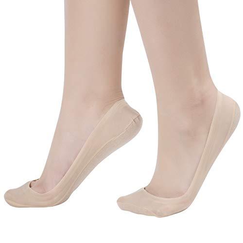 Nylon Liner - Flammi Women's 4 Pairs No Show Liner Socks for Flats Nonslip Low Cut Nylon Cotton (Shoe Size 5-8/Beige)