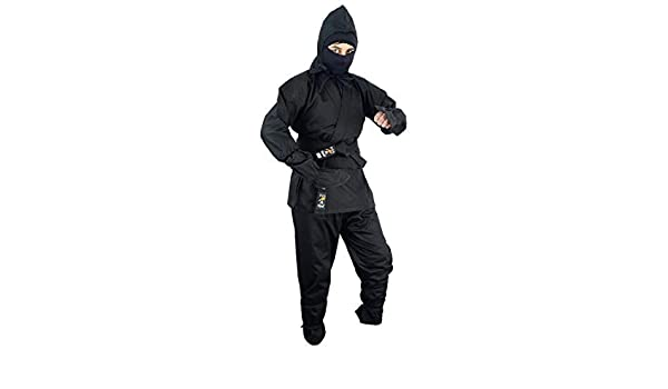 Amazon.com : Playwell Martial Arts Black Full Ninja Uniform ...