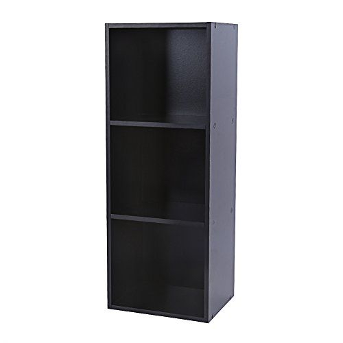 Shelving Bookcase,3, 4 Tier Wooden Bookcase Stand Cube Storage Unit Bookshelf CD Display Shelving Unit free combination (3 Tier, Black) (Small Open Shelf Unit compare prices)