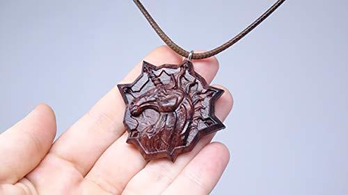unicorn wooden pendant, horse face pendant, lucky horse pendant, wooden necklace, wooden jewellery, hand finished wooden - Satin Asian Pendant